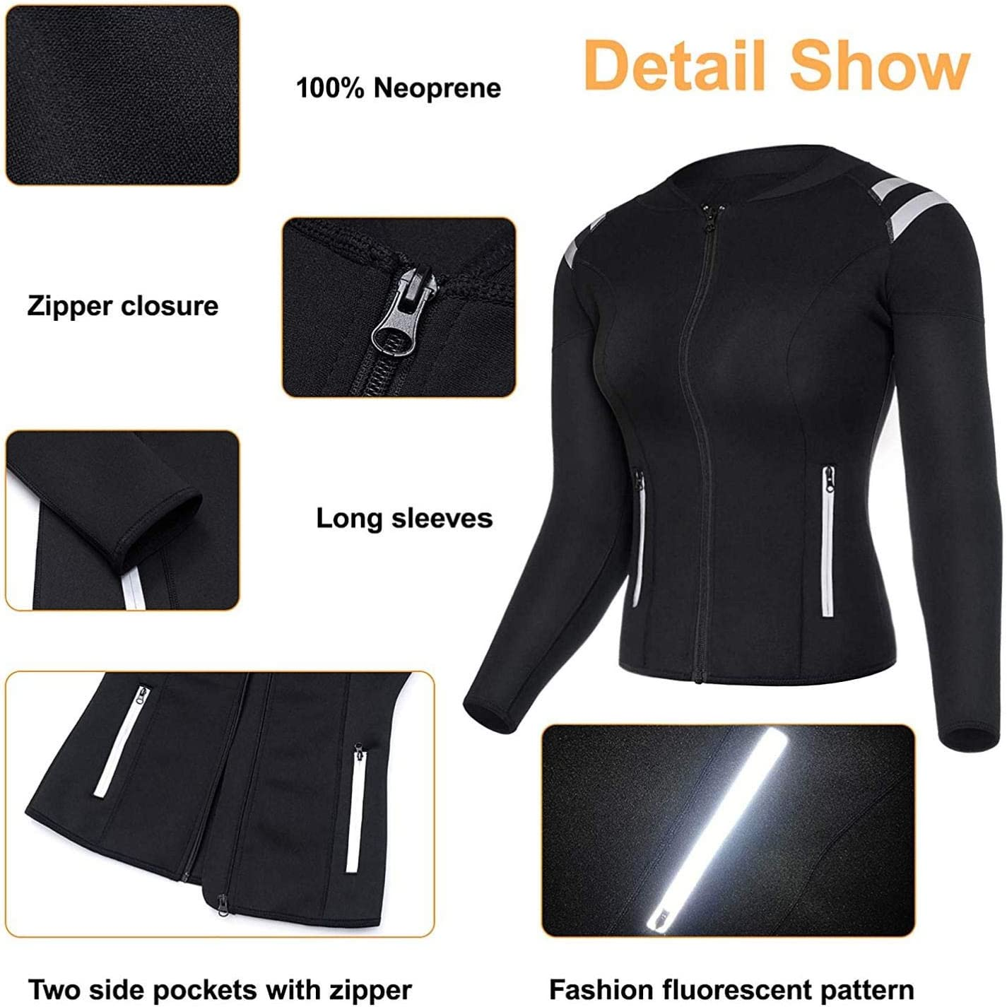 Women Sauna Suit Hot Sweat Neoprene Waist Trainer Body Shaper Workout Jacket Shirt Fat Burning Shapewear Slimming Top Long Sleeve with Zipper for Weight Loss Fitness Gym Wear