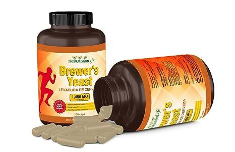 Amazon.com: Brewers Yeast capsules Levadura de Cerveza 1450mg per serving High Absorption Pure 100 capsules: Health & Personal Care