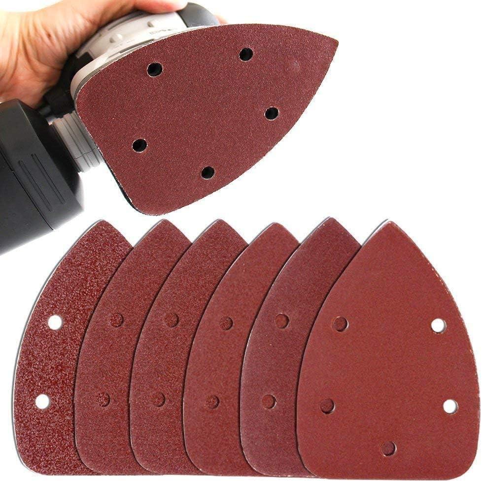 5 agujeros BE-TOOL 40 hojas de papel de lija triangulares para lijadoras de 140 mm 10 unidades de cada 60 80 120 240