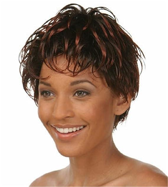 Peluca sintética Pixie corto y rizado peluca para mujeres Pelucas Naturales 0290