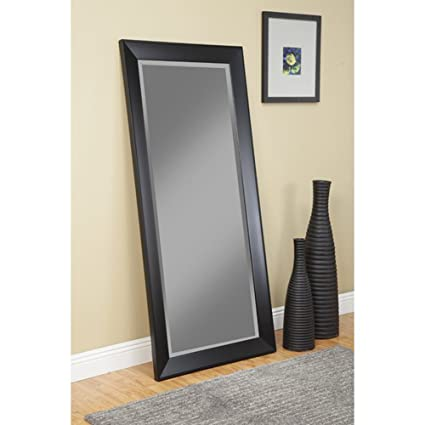 Full Length Mirror Leaning Or Hang Floor Free Standing Or Wall Mounted Horizontal Or Vertical Plastic Framed Contemporary Mirror Black