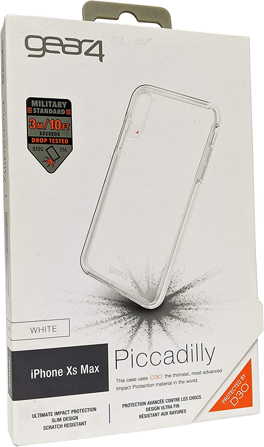 Gear4 Piccadilly Clear Case Advanced Impact Protection [ Protected D3O ], Slim, Tough Design iPhone Xs Max - White OPEN BOX