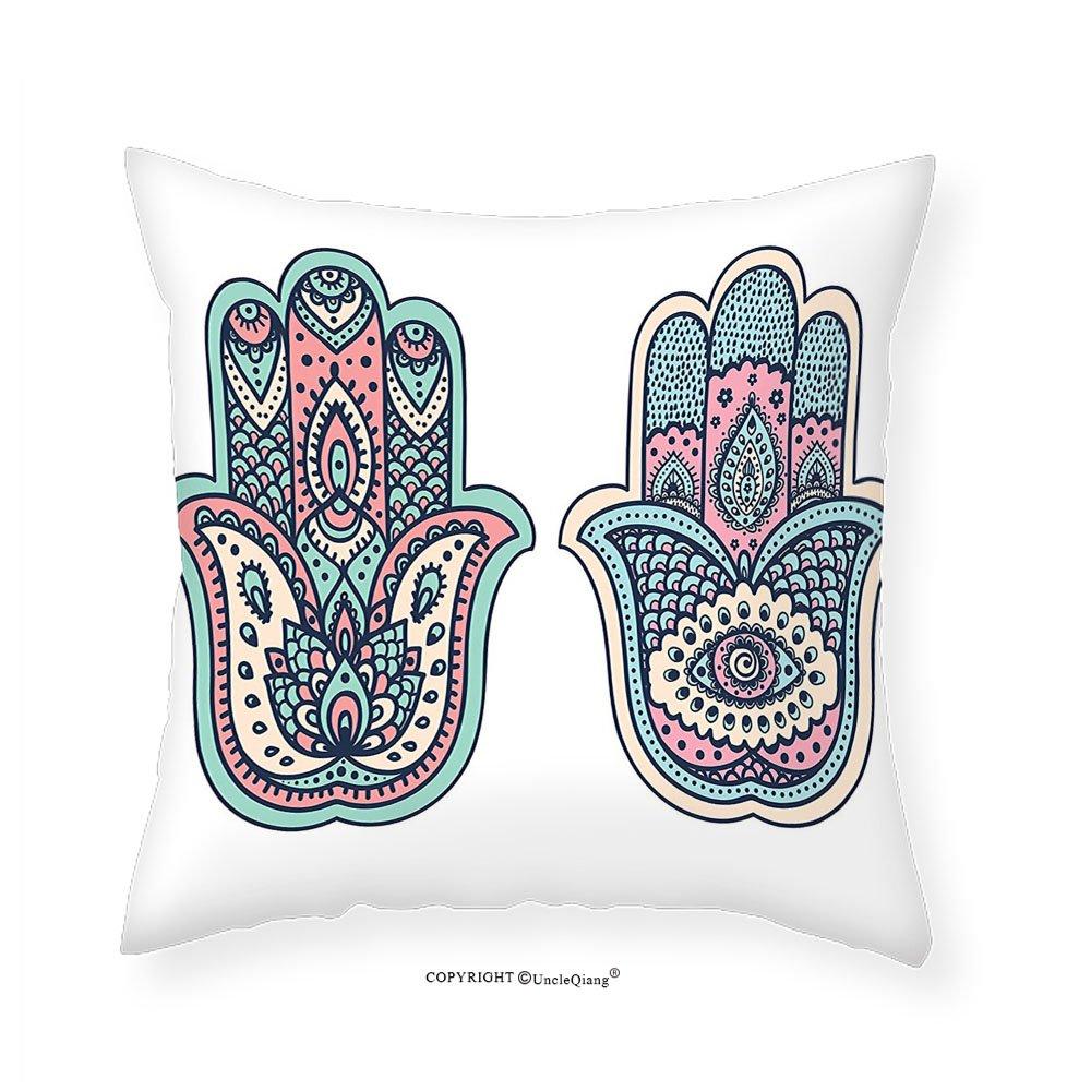 VROSELV Custom Cotton Linen Pillowcase Chakra Kitchen Curtains Flower Shaped Eastern Icon Vital Energy and Life Force Symbol Eastern Asian Religion Art Window Drapes 2 Panel Set for Kitchen 18''x18''
