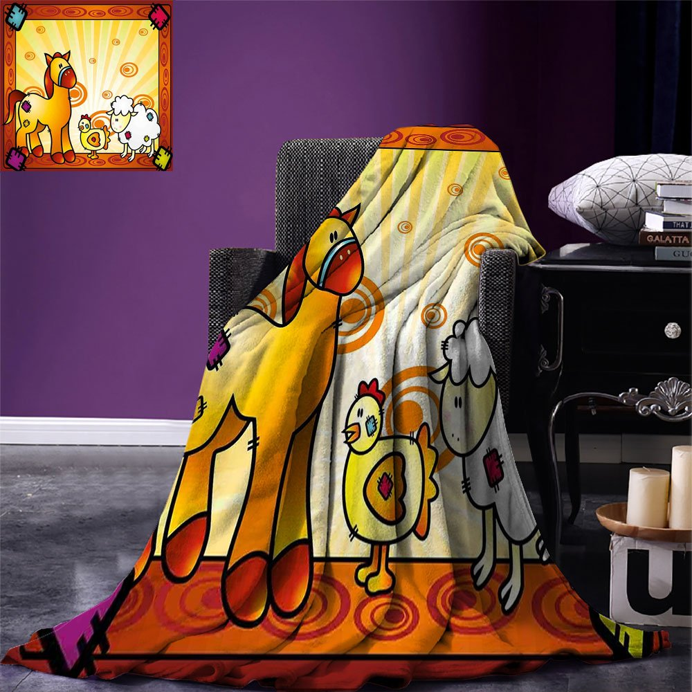 smallbeefly Kids Warm Microfiber All Season Blanket Animal Friend Chicken Sheep and Horse with Patch Motif Zoo Joyful Cartoon Print Print Artwork Image,Multicolor, Red Orange Yellow by smallbeefly