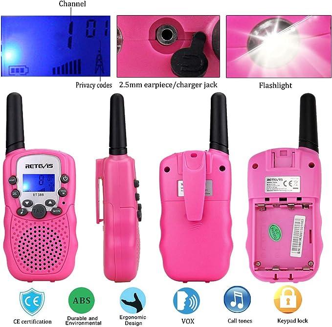 Display LCD VOX con Torcia LED Integrata Blu /& Rosa Lomoo Mini Walkie Talkie Lungo Raggio PMR446MHz 8 Canali Walkie Talkie con Batterie Ricaricabili e Caricatore Portata Fino a 3 KM