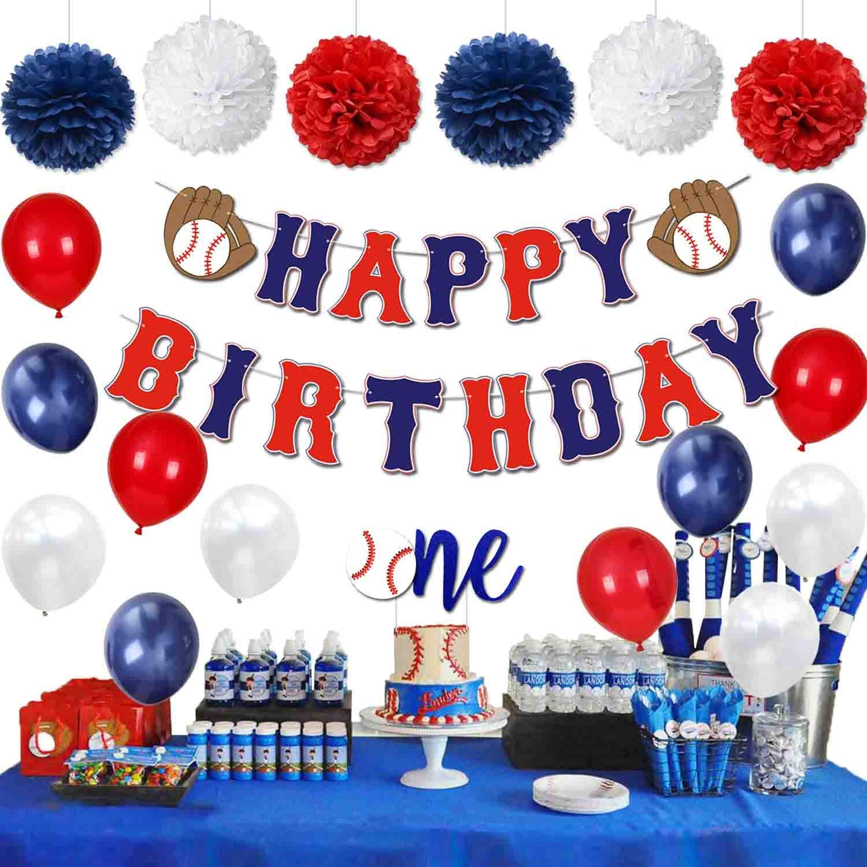 KeaParty Baseball Birthday Party Decorations Supplies Kit, Baseball Happy  Birthday Banner, One Cake Topper, Baseball Themed Balloons, Pom Poms for