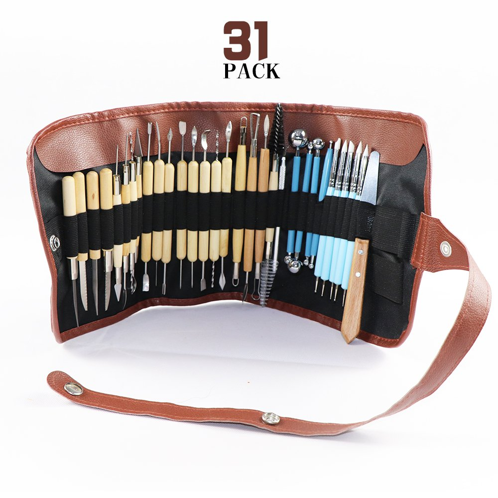 Carving Tool Set with Roll-Up Case, 22 Pieces Wooden Pottery Sculpting Tools,5 Pieces Ceramic Clay Indentation Tool,4 Pieces Double-ended Metal Ball Tools with Roll Up Pouch Case (31 pieces) VG