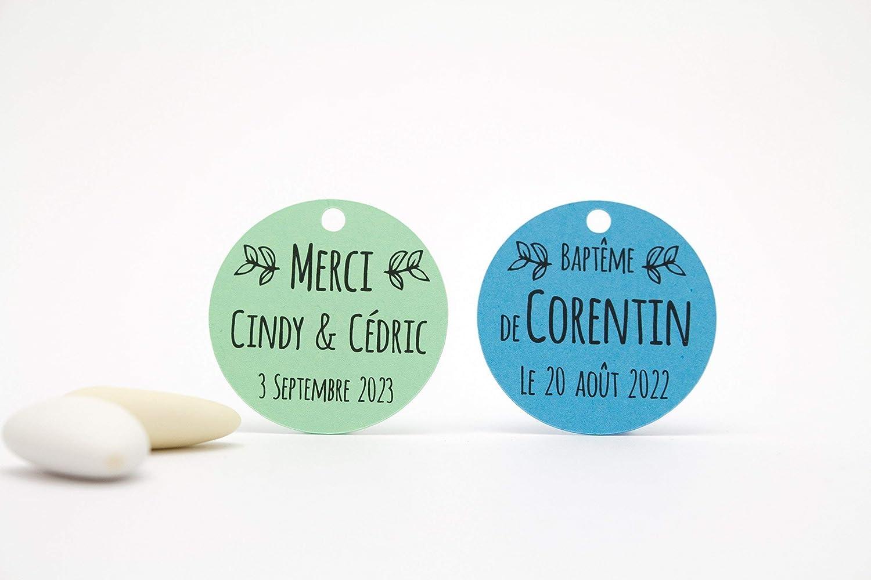 10 étiquettes rondes personnalisables, motif feuilles d'olivier