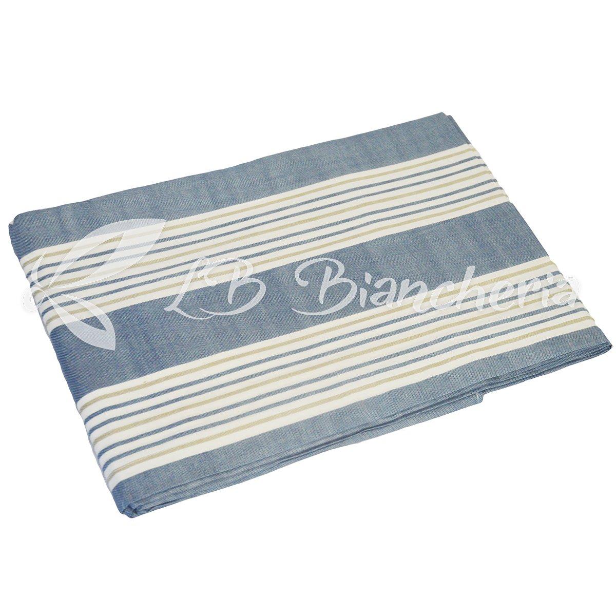 Doubleface- Prezioso Cotone Made in Italy Trama fitta 1 Piazza e Mezza Blu R.P Parure Copripiumino Sacco Multirighe Stintino