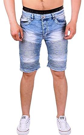 e865f329d880 Violento Jeans Bermuda für den Sommer   Shorts mit Taschen und Riffel Look    kurze schwarze und blaue Stonewashed Hose für Herren   Freizeithose im  modernen ...
