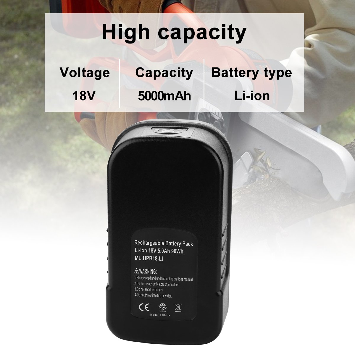 Energup Upgraded 5000mAh Lithium Black & Decker 18V Replacement Battery for HPB18 HPB18-OPE 244760-00 A1718 FS18FL FSB18 Firestorm Black and Decker 18 Volt Battery by Energup (Image #2)