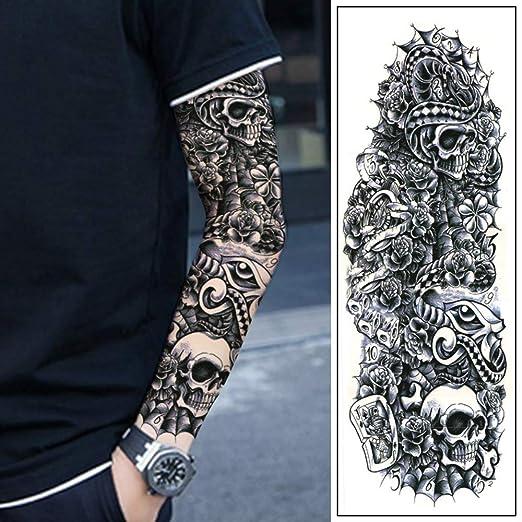 FANGQI Tatuaje Pegatina De Brazo Completo Sentarse Esqueleto De ...