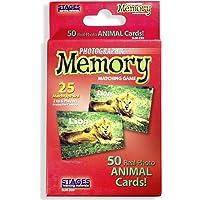 Stages Learning Juego de Tarjeta de Memoria con Fotos Reales, Juego de concentración , Animales, Rojo, Size 5 x 3