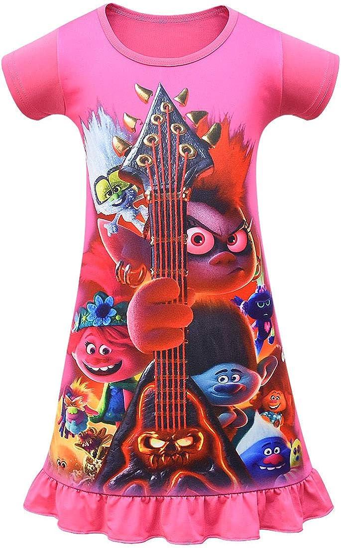 Girls Pyjamas Short Sleeve Purple Pink 2-8 Years Night Dress Nighties for Kids