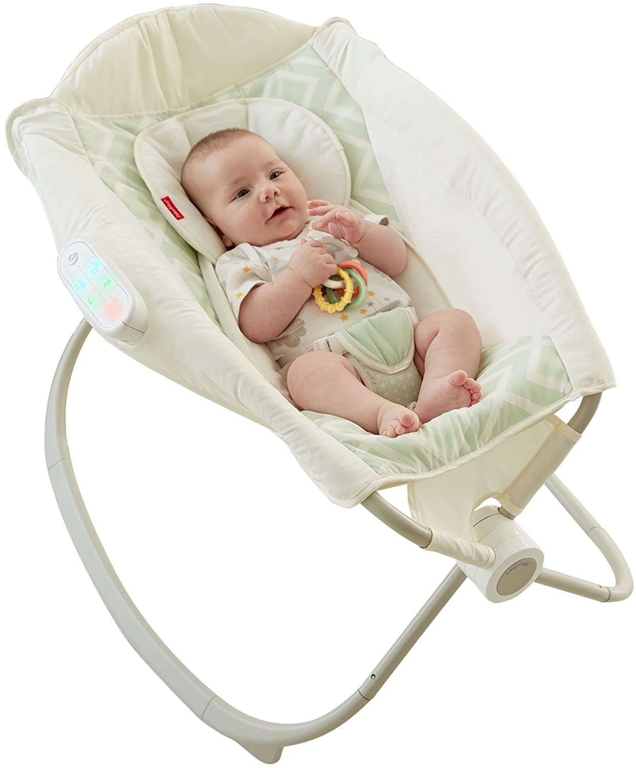 Fisher-Price Deluxe Auto Rock 'n Play Sleeper with SmartConnect, Green/White DNK64