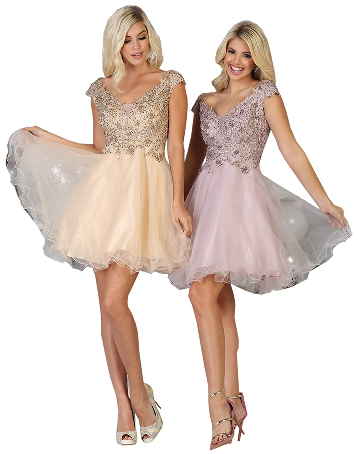 Champagne Formal Dress Shops, Inc FDS1660 Short Homecoming Embroidered Dress