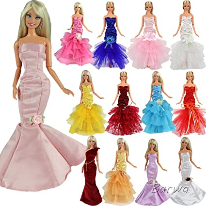 6ddf22cec5d Image Unavailable. Image not available for. Color  BARWA 5 Sets Evening  Wedding Party Fishtail Mermaid Gown Dress Clothes for 11.5 inch Doll