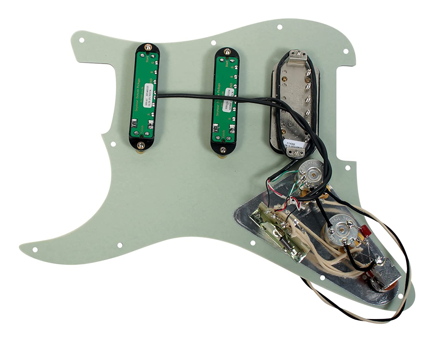 Seymour Duncan Fat Everything Loaded Strat Pickguard Us Power Cableusa Cableamerica Cable Bk Industrial Tortoise Black Musical Instruments