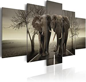 "Konda Art Framed African Elephant Canvas Print Modern Wall Art Grey Painting Home Decor 5 Piece Animal Artwork for Bedroom Ready to Hang (It's a wild World!, 40""x 20"")"