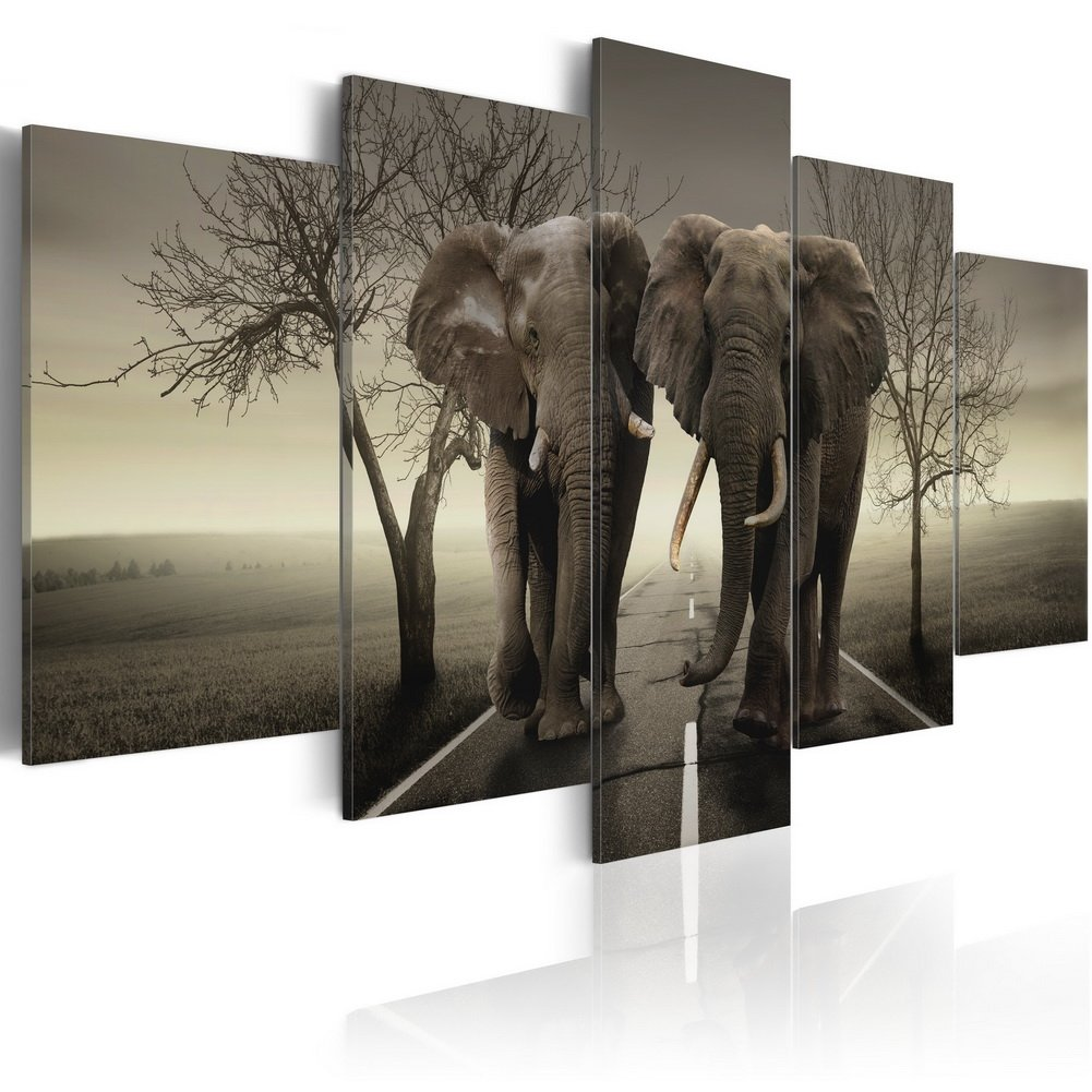 Konda Art Framed African Elephant Canvas Print Modern Wall Art Grey Painting Home Decor 5 Piece Animal Artwork for Bedroom Ready to Hang (It's a Wild World!, 40''x 20'')