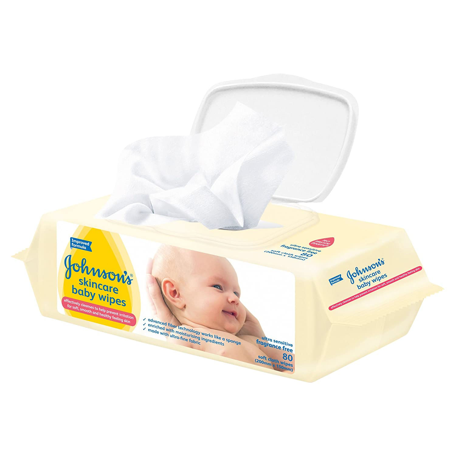 pack Of 6x80 Johnsons Baby Wipes Skincare Fragrance Free Baby Wipes Diapering