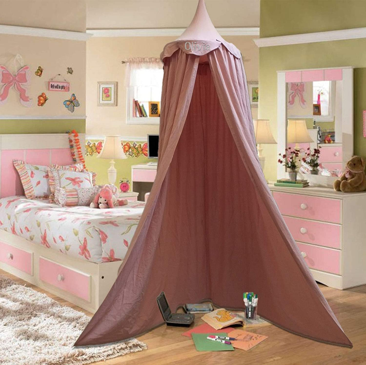 Teepee Room Decoration for Baby Personalised Children Bed Canopy Round Dome Pink Cotton Mosquito Net Kids Princess Play Tents Girls Nursery Decorations