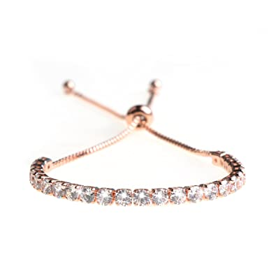 130d1bb7c8 Amazon.com: ASHMITA Fashion Adjustable Chain Bracelet for Women, Cubic  Zirconia Rose Gold Gift Bracelet of Luxury Shining Jewelry: Jewelry