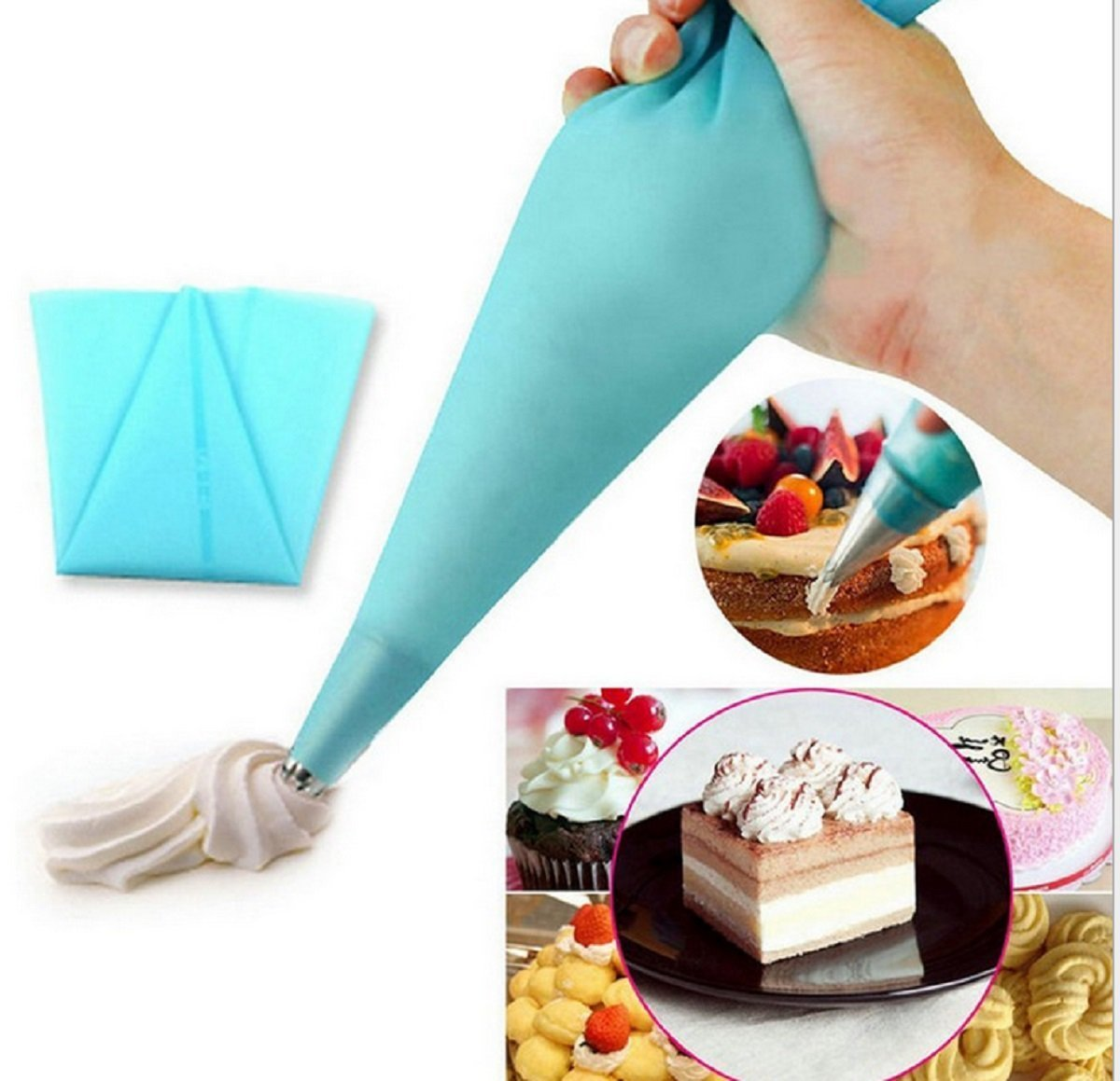 KOOTIPS 4 Sizes S M L XL Reusable Icing Piping Bag Baking Cookie Cake Decorating Bag-Blue color Silicone Pastry Bag 4pcs//set