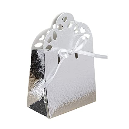 55aeed3658ee Amazon.com  BalsaCircle 100 Silver Cute Wedding Favor Boxes with ...