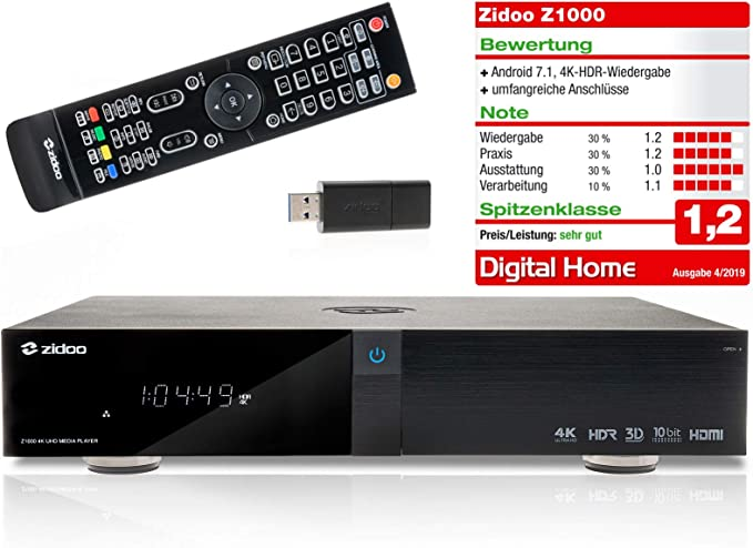 Zidoo Z1000 - Reproductor multimedia Android 4K (Ultra HD) y 3D ...
