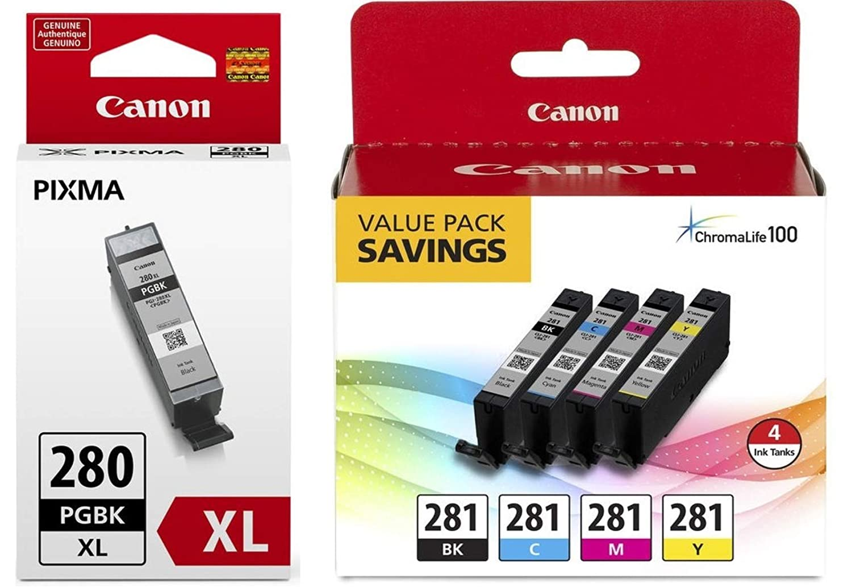 Canon CLI-281 BKCMY 4-Color Ink Tank Value Pack (2091C005) + Canon PGI-280 XL Pigment Black Ink Tank (2021C001)