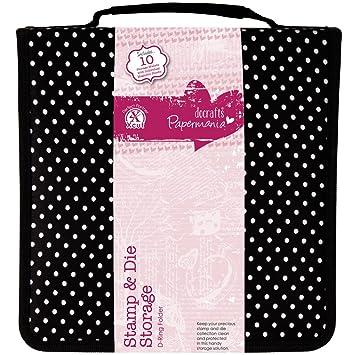Papermania PMA 105902 - Estuche de tejido para sellos, color rosa y negro