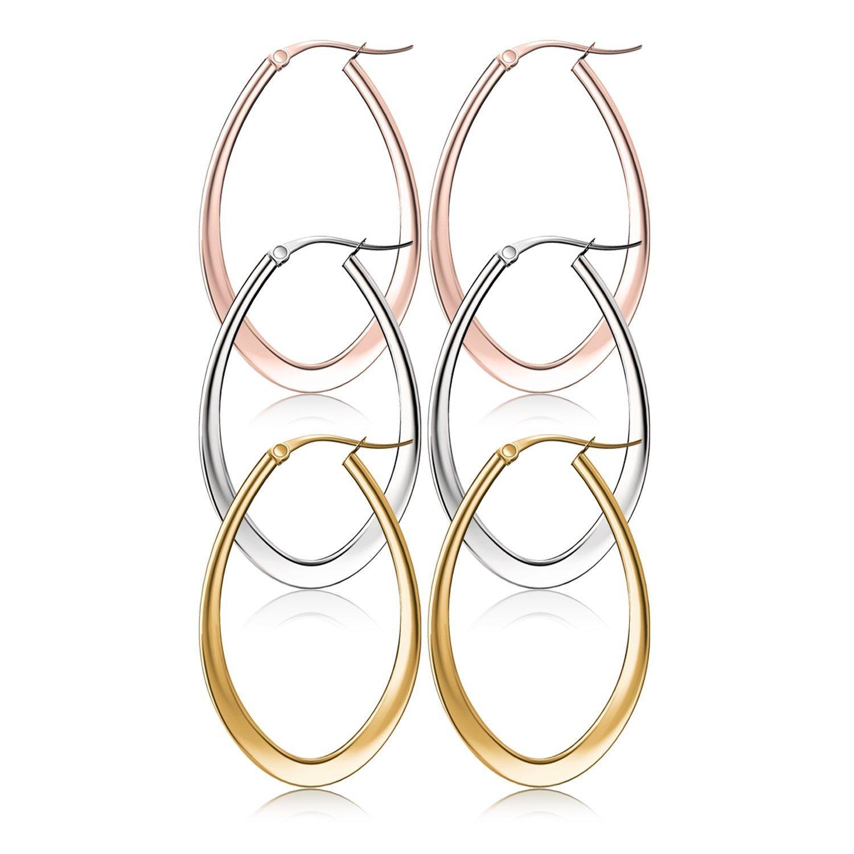 Hoop Earrings, UHIBROS Hypoallergenic Stainless Steel Teardrop Hoop Earring Sets 3 Pairs 35MM uhi-110