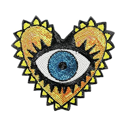 5a5b376a8d919 1 Pcs Love Large Sequin Heart Evil Eyes Patches No Glue Cartoon Motif  Applique Embroidery Garment Patch Sewing on for Clothes Kids T Shirt Jeans  DIY ...