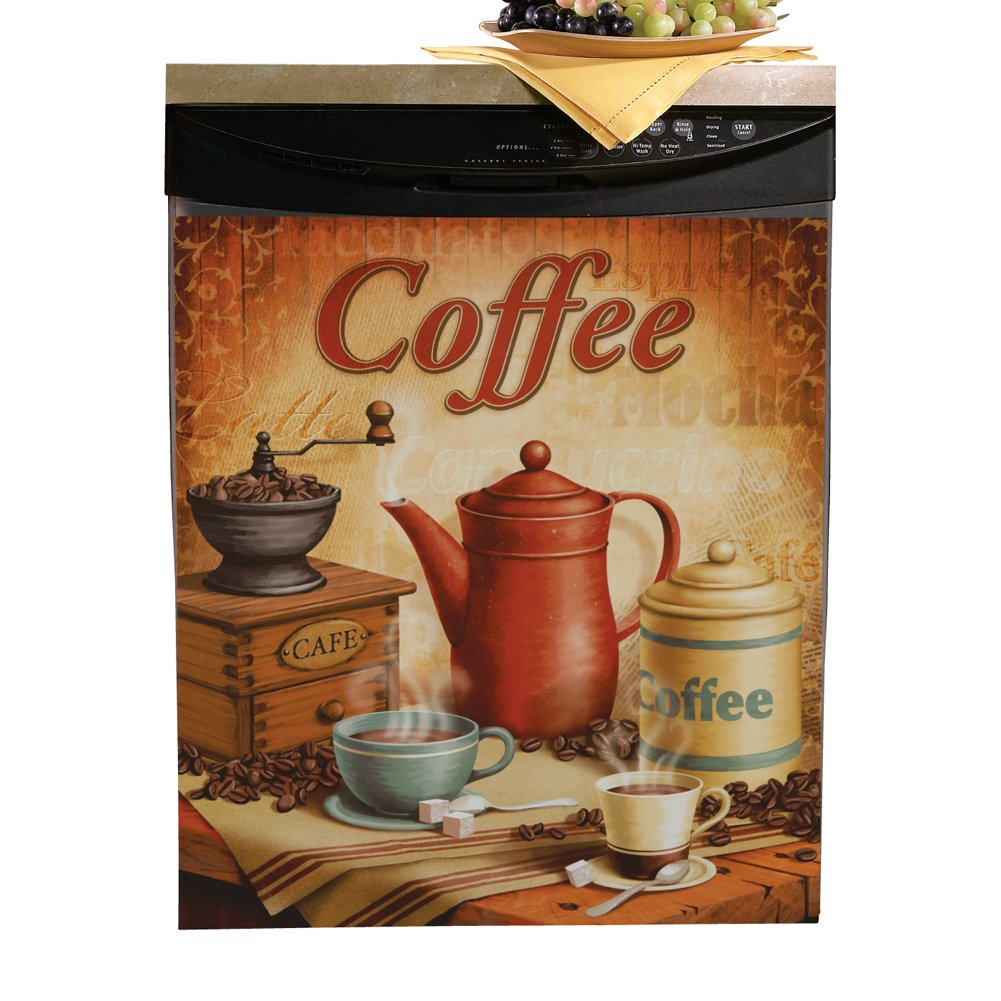 Vintage Coffee Dishwasher Cover - Unique Kitchen Accents for Coffee Lovers
