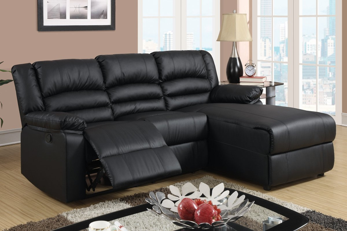 amazoncom black bonded leather sectional sofa with single recliner kitchen u0026 dining - Sectional Leather Sofas