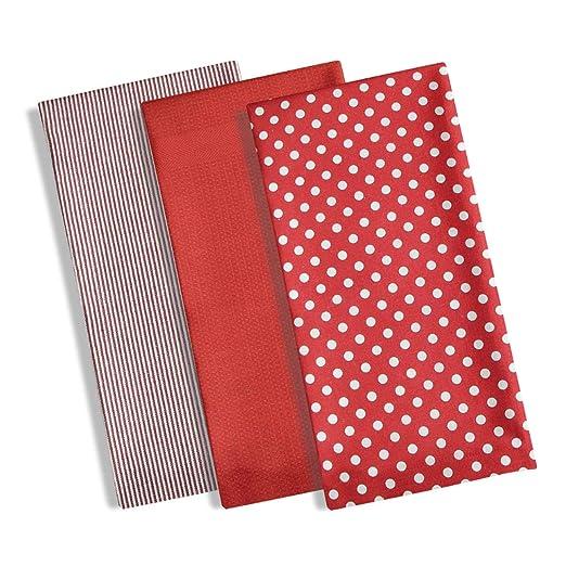 Set di 3 strofinacci da cucina, 100% cotone, design moderno con pois /  righe e in spugna a nido d\'ape, tessuto assorbente Red