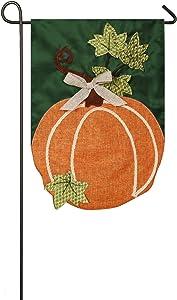 Evergreen Fall Pumpkin Outdoor Safe Double-Sided Applique Garden Flag, 12.5 x 18 inches