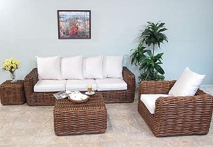 Amazon Com Soho Rattan Living Room Furniture 4 Piece Sofa Set Kitchen Dining
