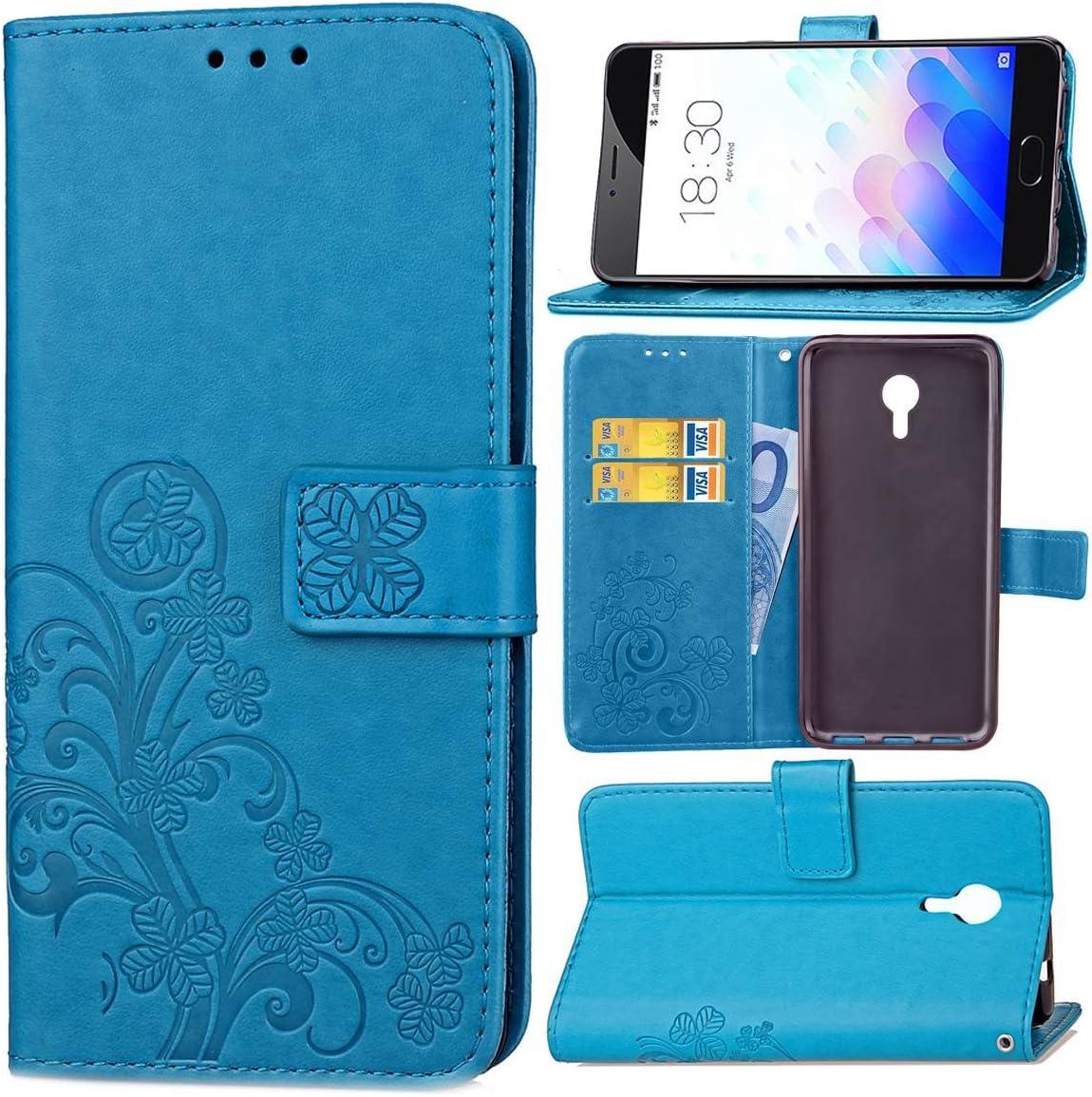 Guran® Funda de Cuero PU para Meizu M3 Note Smartphone Función de Soporte con Ranura para Tarjetas Flip Case Trébol de la Suerte en Relieve Patrón Cover: Amazon.es: Electrónica