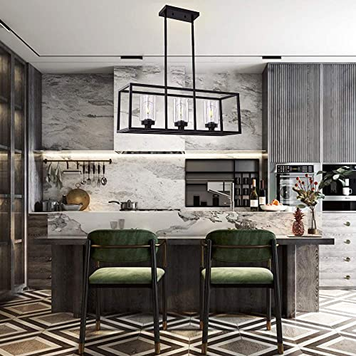XILICON Black Dining Room Chandeliers Lighting Fixture Linear Pendant Modern 3-Light with Glass Shades Vintage Farmhouse Ceiling Light Hanging for Kitchen Island Cafe Bar