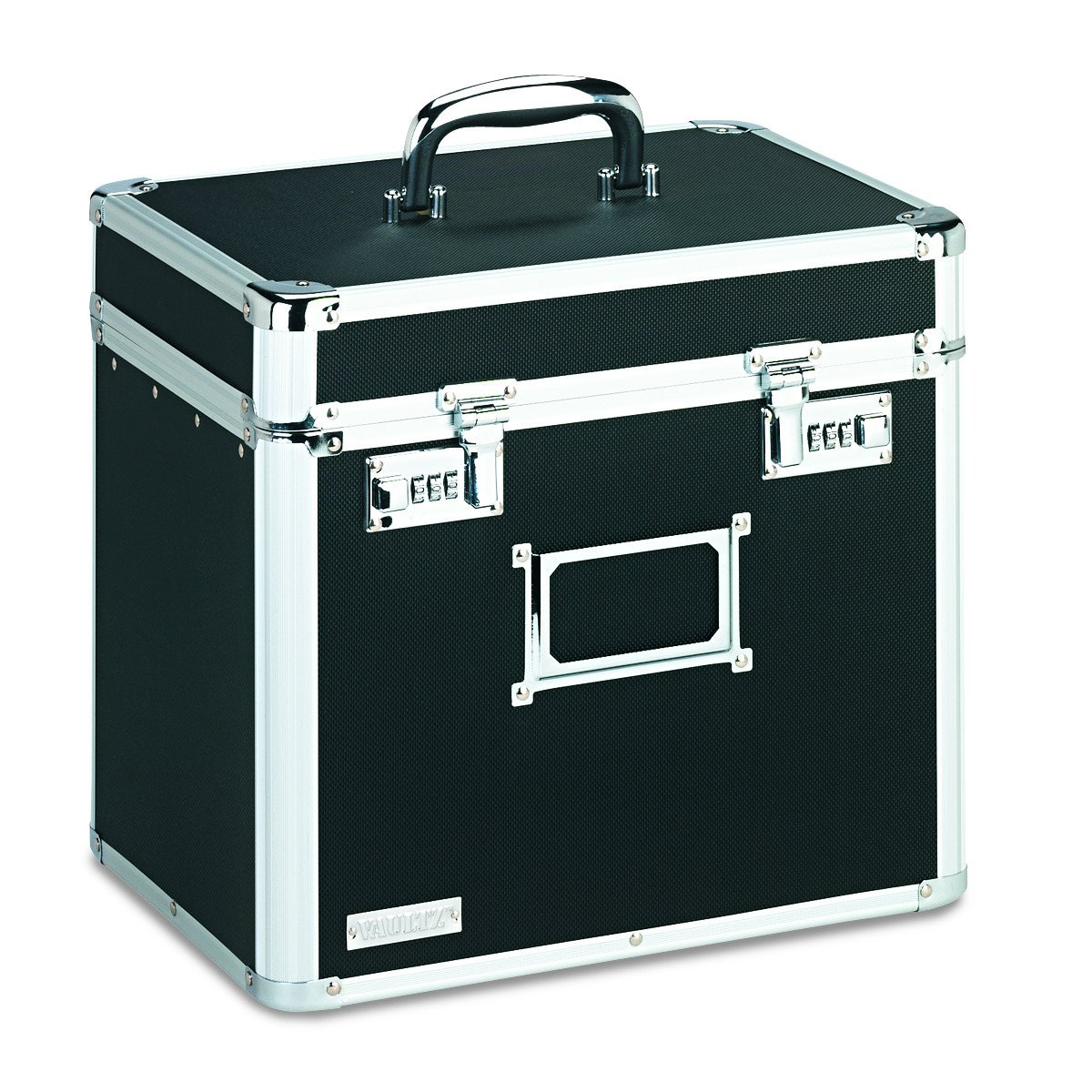 Vaultz Locking File Security Box, Letter Size, 13.5 x 10.5 Inches, Black (VZ01165)