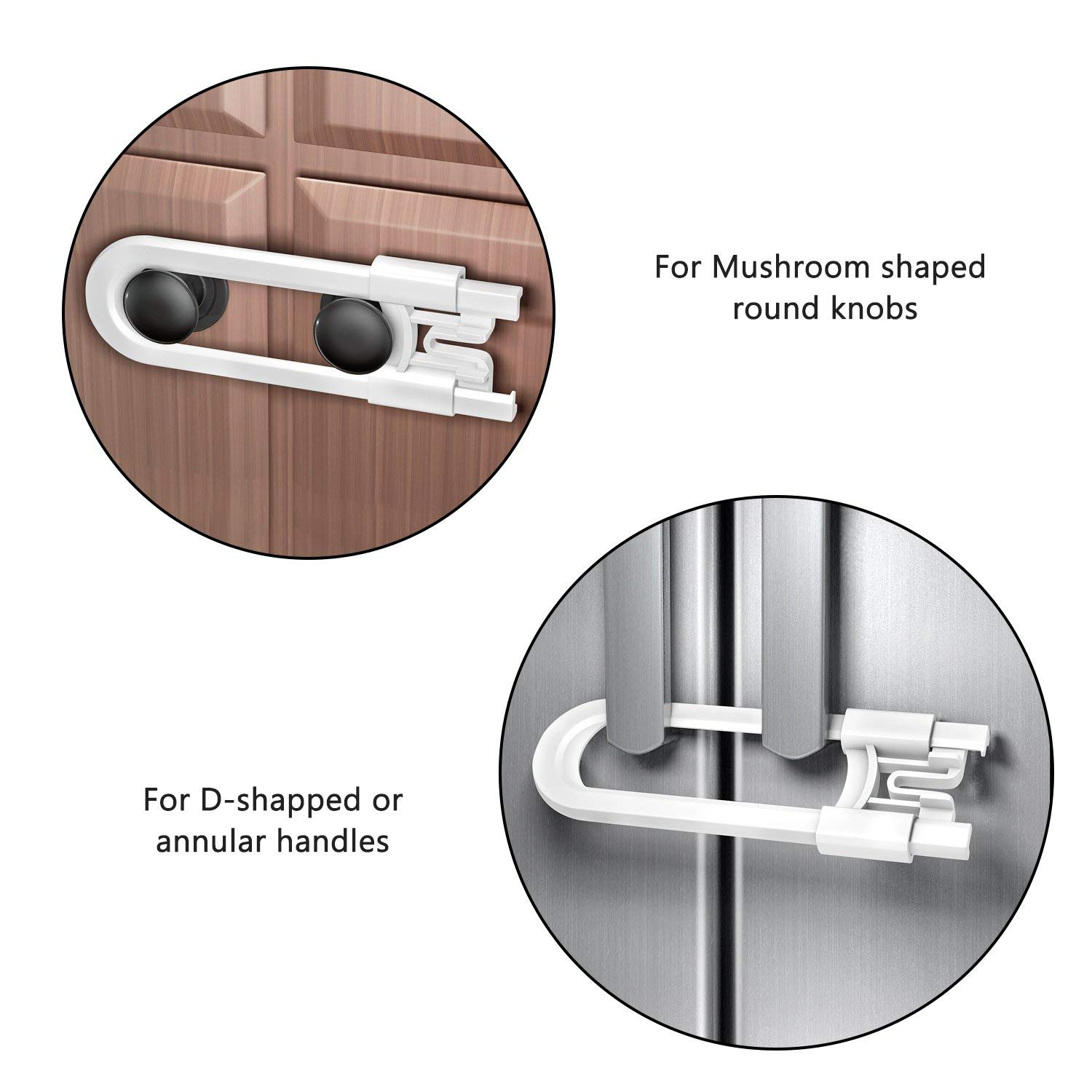 U Shaped Baby Safety Locks Childproof Cabinet Latch for Kitchen Bathroom Storage Doors 4-Pack, White Adoric Sliding Cabinet Locks Knobs and Handles