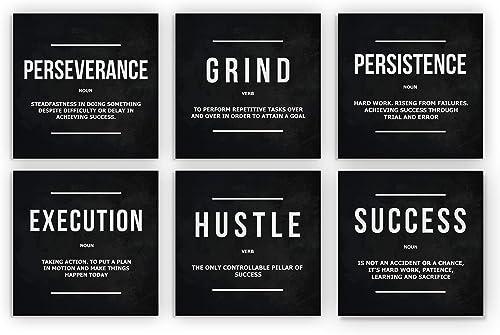 6x Motivational Wall Art Office Decor Canvas Prints Grind Hustle Success Execution Persistence Perseverance Definition Framed Entrepreneur Bundle Set 6 Piece 6x