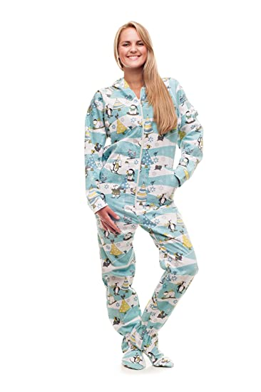 dc1a79a951 Amazon.com  Christmas Morning Kajamaz  Adult Footie Pajamas  Clothing