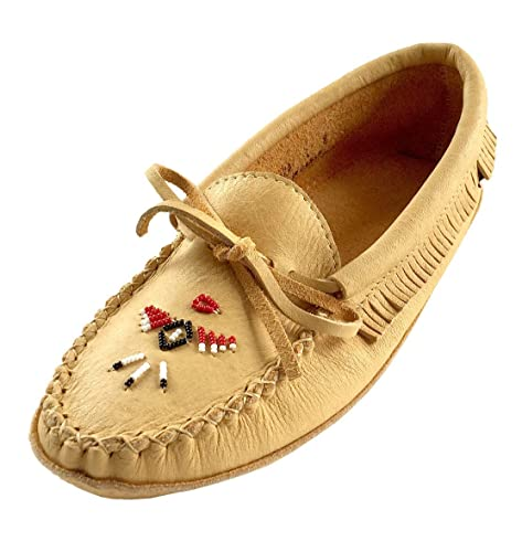 843204d5b12d8 Laurentian Chief Women's Beaded Fringed Soft Sole Moosehide Leather  Moccasins