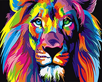 Diy Digital Painting By Numbers Kit Hand Painted On Canvas With No Frame For Home Decor Lion King Amazon Co Uk Toys Games
