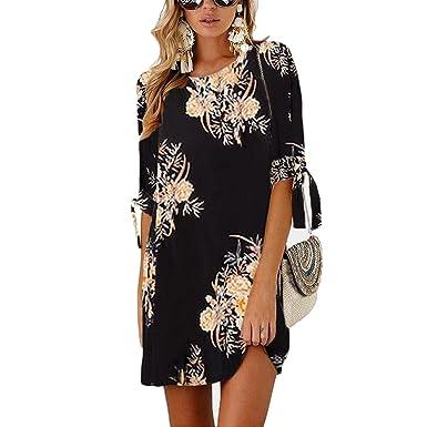 Flower Print Dress Women O Neck Half Sleeve Casual Short Dresses 2018  Summer S-5XL c6454d7d348f