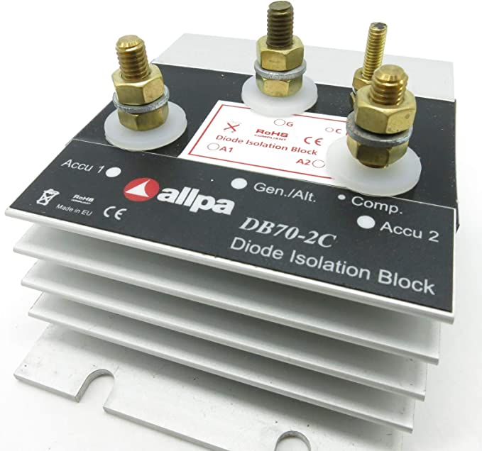 Allpa Separating Diode Charging Current Distribution Battery Coupler Model Db70 2c 50a 70a Sport Freizeit