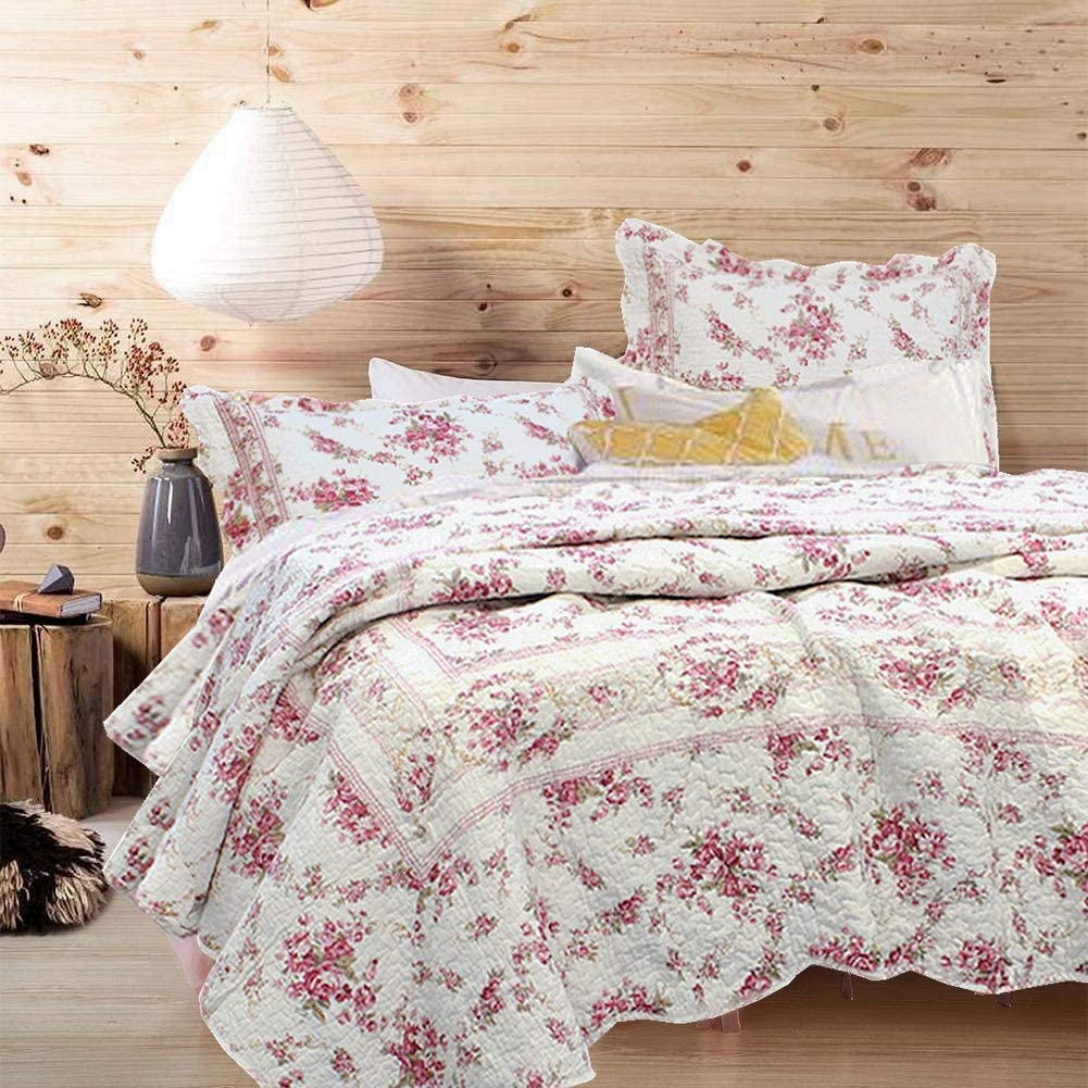 Cozy Line Home Fashions Vintage Rose 3-Piece Quilt Bedding Set, Pink Floral Flower Printed 100% Cotton Reversible Coverlet Bedspread for Women (Rose, Queen - 3 Piece